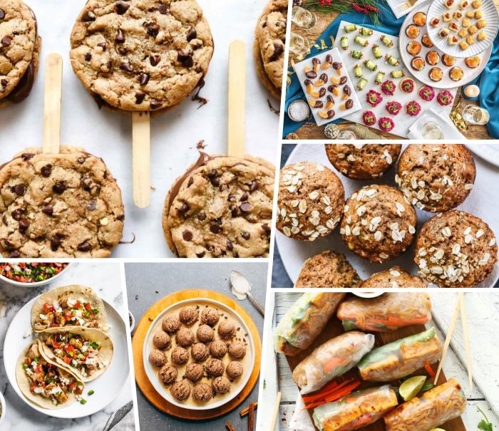 picknick snacks, kekse mit schokoladenchips, häpchen ideen, tacos mit hackfleisch und gemüse, frühlingsrollen