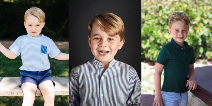 Prinz George drei Fotos, die sein Wachstum zeigen, von 3 bis 6 Jahre alt