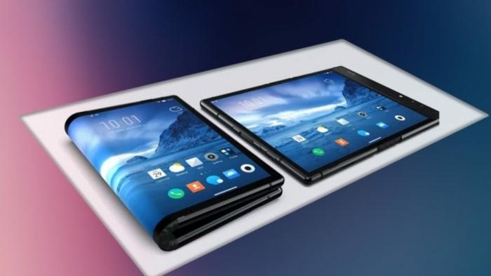 so sieht das Smartphone gefaltet und glatt aus, blaues Bild als Hintergrund, Samsung Galaxy Fold