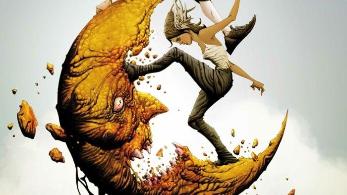 eine Illustration aus dem Graphic Novel, ein Mädchen und der Mond mit großen Zähnen, Sandman