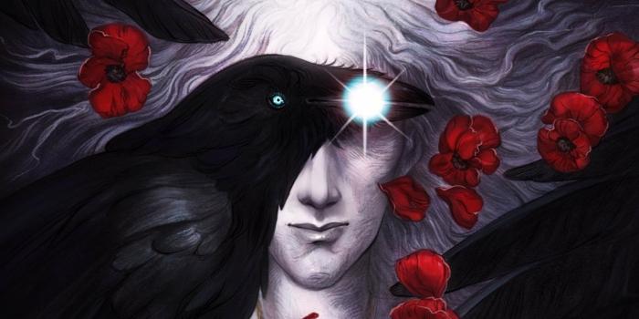 ein Rabe mit blauen Augen trägt etwas Glänzendes im Mund, ein weißer Sandman, rote Blumen
