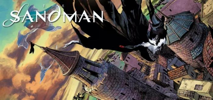 Sandman, Traum fliegt über ein Schloss bei Sonnenaufgang, eine schwarze Fahne, ein Aufschrift