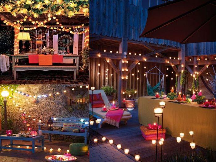 balkon bepflanzen ideen, drei deko ideen für die terrasse am abend, romantisch dekorieren
