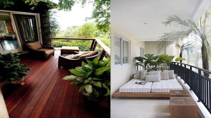 balkon bepflanzen ideen, deko ideen zwei moderne garten und balkongestaltungsideen, weiß oder braun
