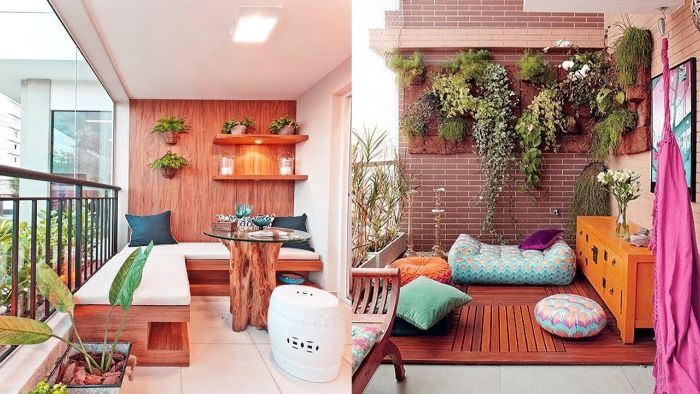 balkon bepflanzen ideen, zwei rosarote balkon deko inspirationen, bild deko ideen balkon von den zwei seiten fotografieren