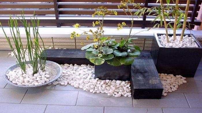 schöne balkone zum entlehnen, deko kies weiß und schwarze platten, grüne wasserpflanzen auf dem balkon
