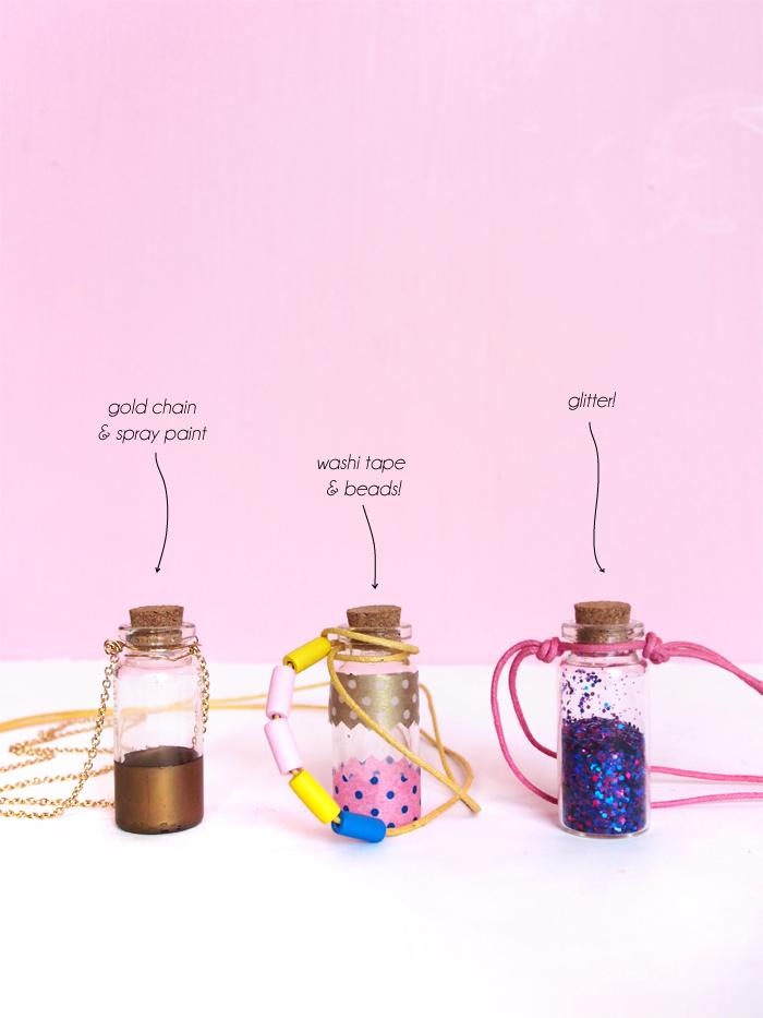 schmuck basteln, diy geschenk für die beste fraundin, verschiedene designs, mini korkenflaschen