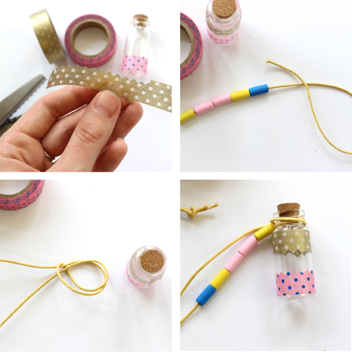 schmuck basteln anleitung, mini korkenflasche mit washi tapes dekorieren, einfaches tutorial