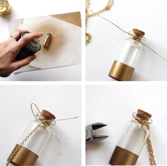 schmuck basteln ideen, kleine flasche mit weinkorkdeckel, weinflasche, goldene sprühfarbe