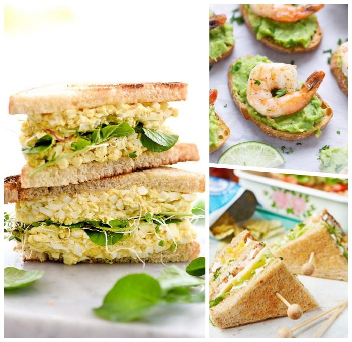 partyessen ideen, sandwiches mit eiern und kräutern, schnelle fingerfood rezepte, picknick essen