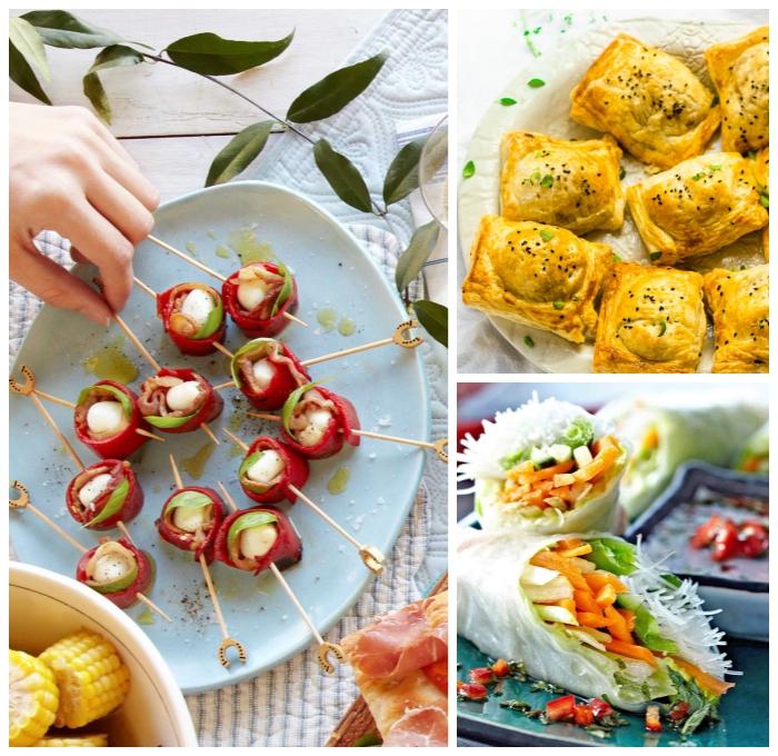 snack ideen, häppchen mit bacon und mozzarellakleine gebäke aus teig gefüllt mit fleisch, parytessen