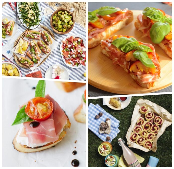 snacks für party, partyessen rezepte, bruschettas mit prociutto, cherry tomatenund basilikum