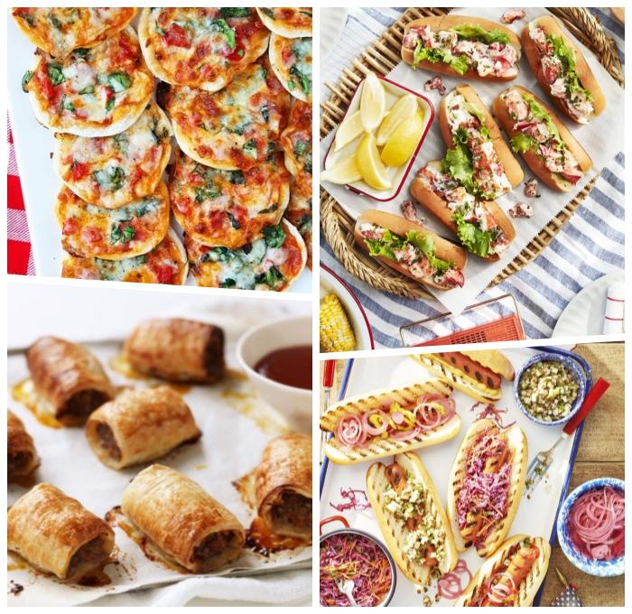 snacks für unterwegs, sandwiches mit fleisch und käse, mini pizzas, kleine gebäcke aus butterteig