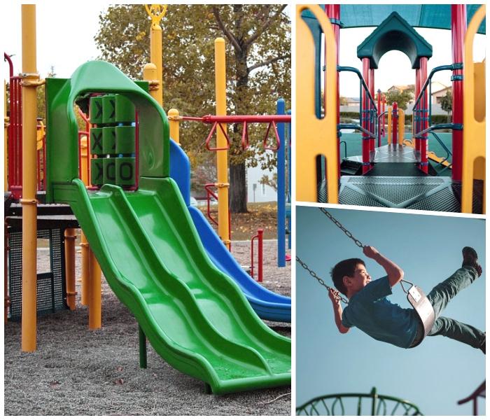 spielplatz im garten schaffen, tipps und ideen, kinderspielplatz im außenbereich gestalten, grüne rutsche