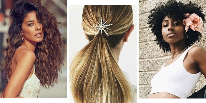 haarfarbe braun, collage mit drei fotos, schöne frisuren, glatt, wellen oder locken