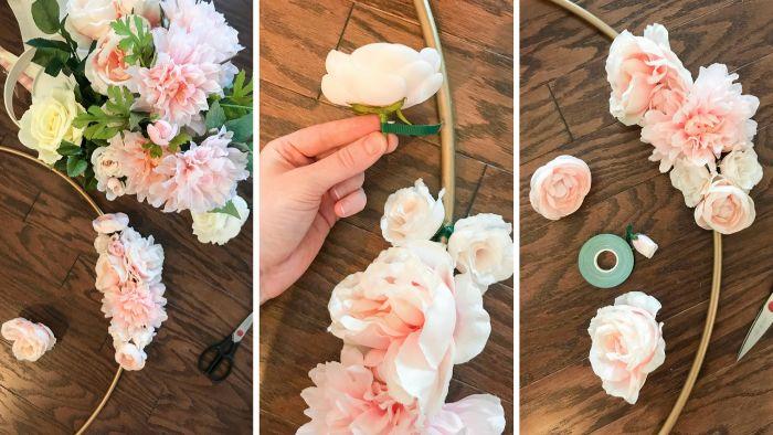 taufdeko diy anleitung in bildern, so geht es, blumen an einem basisstick anhängen, rosa und weiß blumendekor