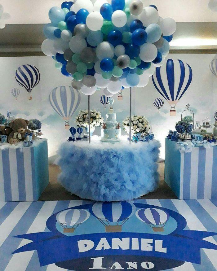 tischdeko taufe junge, blaue motivparty für die taufe von einem jungen, balloons, daniel