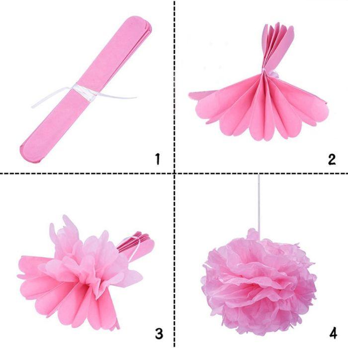 tischdeko taufe, rosa dekoelemente, rosa deko selber machen ideen, diy anleitung in bild