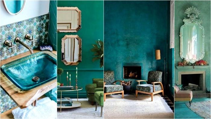 petrol farbe wohnzimmer, ein bild mit vier fotos darauf, collagebild idee mit petroltönen