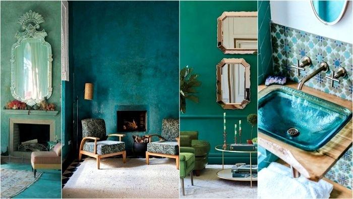 petrol farbe wand, wanddeko, dekorationen und ideen, waschbecken, spiegel, zwei sessel