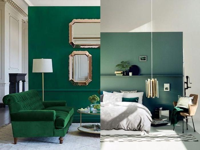 petrol farbe wand, dunkelgrün nuancen des petrols, schlafzimmer ideen lampe