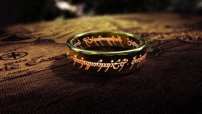 poster für den film der herr der ringe, ein goldener großer ring, the one ring, the lord of the rings