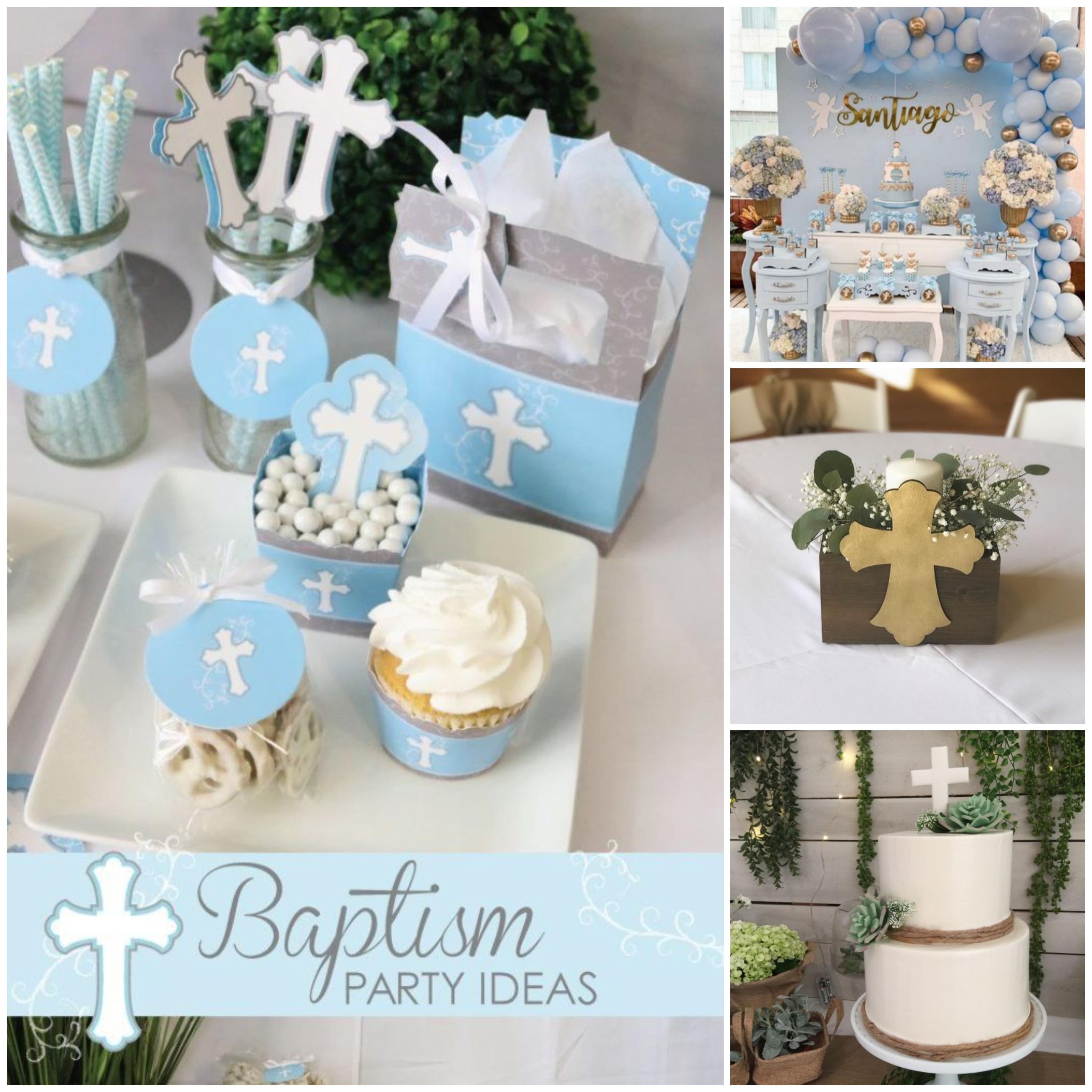 taufdeko ideen in einem bild mehrere vorschläge für taufparty sammeln, muffins in weiß und blau, torte, tischdeko