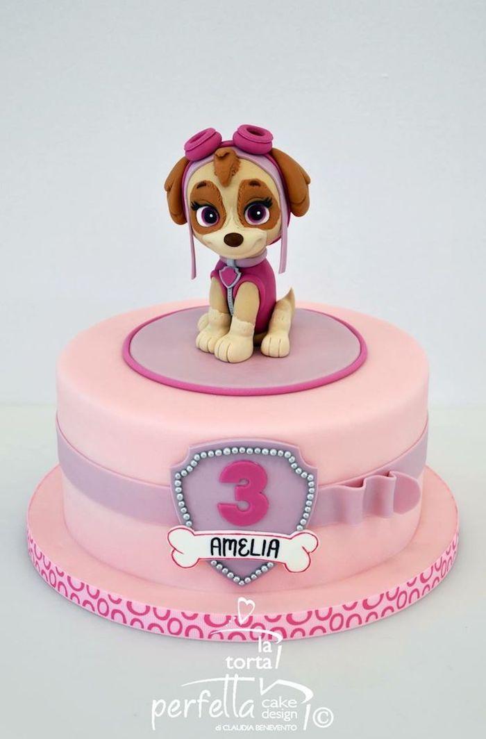Rosa Paw Patrol Geburtstagstorte mit Skye für Mädchen, Fondant Torte für Kindergeburtstag