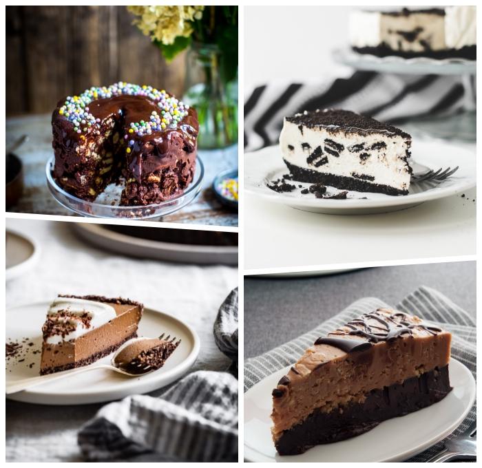torte ohne backen, dessert mit eiscreme und oreo keksen, schokokuchen ideen, torte mit schokolade