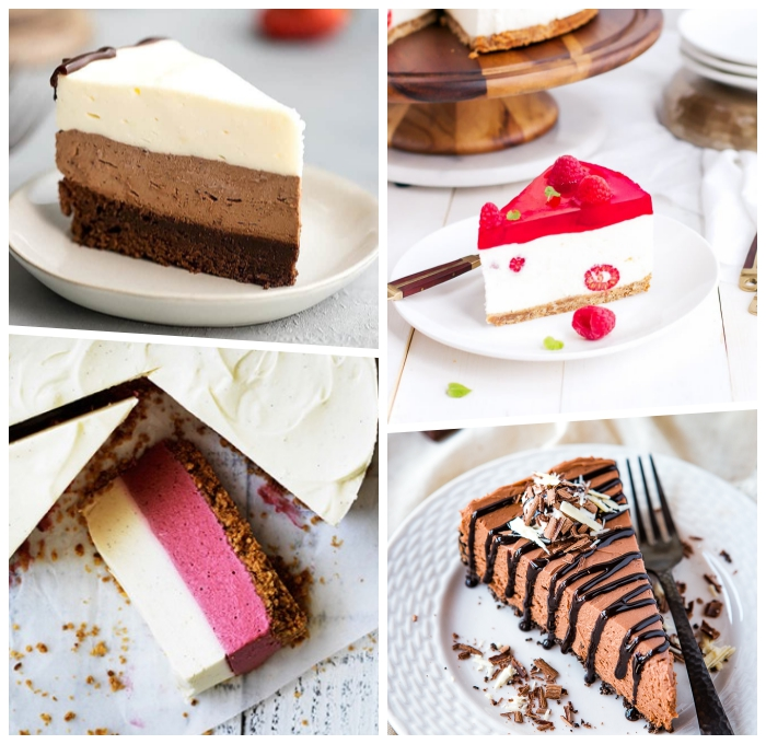 torte ohne backen, frischkäsekuchen rezepte, cheesecake mit himbeeren, schokokuchen
