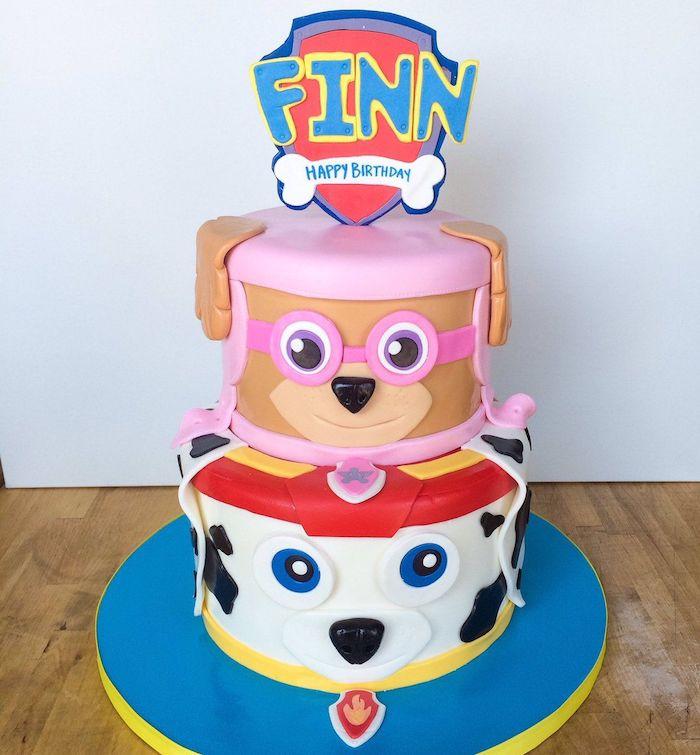 Paw Patrol Geburtstagstorte für Kinder, Zuma und Marshall aus Fondant, ausgefallene Torten für Kinder