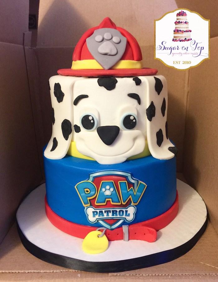 Zweistöckige Paw Patrol Fondant Torte mit Marshall, Geburtstagstorte für Kinder