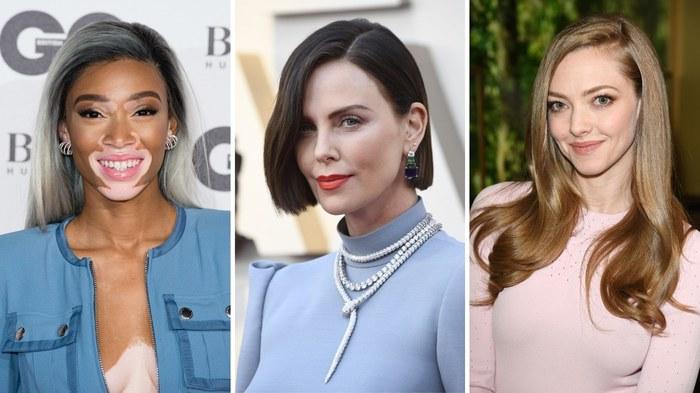 strähnchen 2020, models und schauspielerinnen in einer collage mit drei bildern