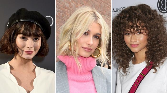 haarfarben trends 2020, hailey bieber, collage mit drei berühmten frauen und ihren frisuren