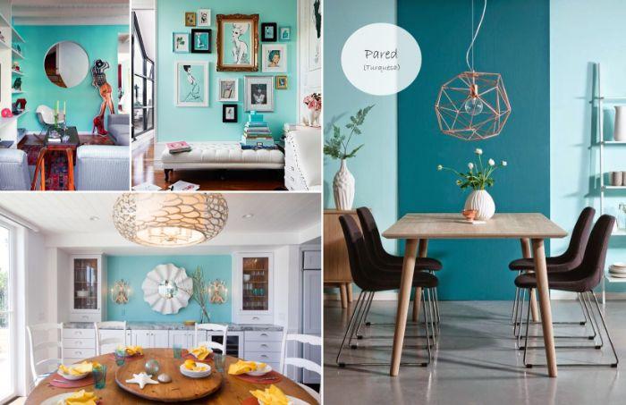 petrol farbe wand, wanddeko, interieur design ideen, collage aus drei bildern