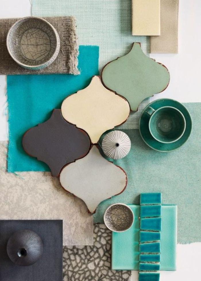 farbe petrol ideen zum kombinieren mit anderen farben, braun, beige blau, grün, deko