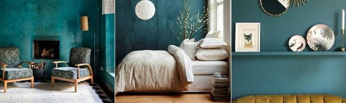 farbe petrol in dem innendesign, innengestaltung ideen zum entlehnen, deko im wohnraum