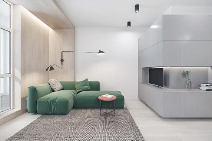 minimalistische möbel, grünes samt sofa, ecksofa dekor ideen, möbel
