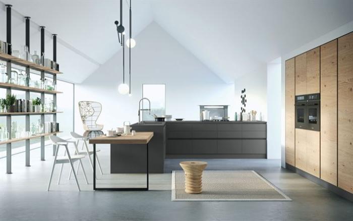 minimalistische möbel, kochinsel, schwarze deko, küche, stühle, stuhl design idee