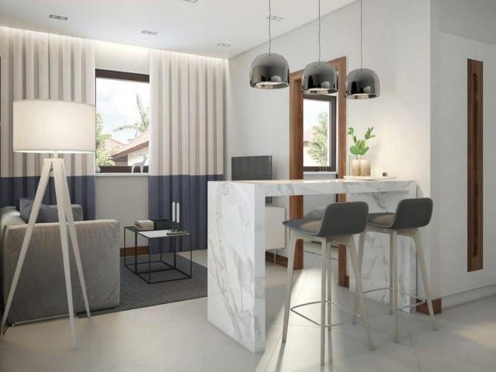 ausmisten minimalismus, dekor ideen für kleien küche, marmor plott, deko lampen