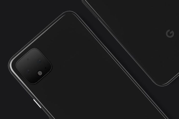 pixel 4, das neue smartphone von google namens pixel vier, zwei schwarze handys mit kameras und mit schwarzen sensoren, soli erkennungsfunktionen