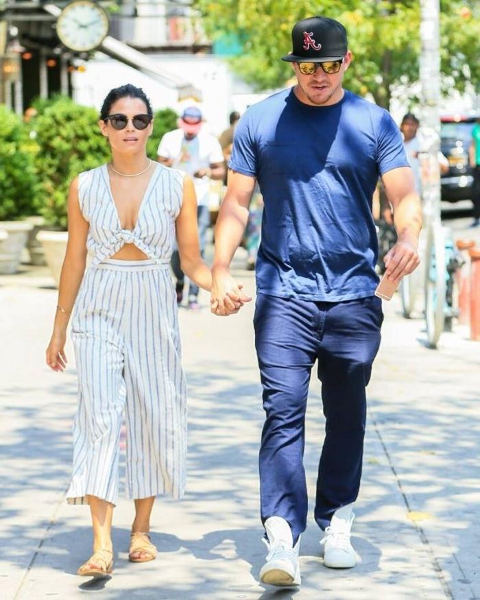 nachhaltige produkte, channing tatum und jenna dewan tatum, weißes outfit und sportliche kleidung für die beiden