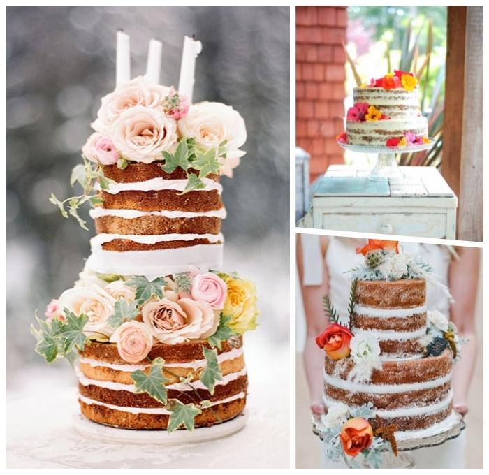 hochzeitstorte ideen, 2 stöckige torte rezept einfach, tortendeko mit blüten, boho stil