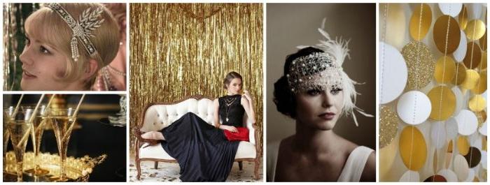 20er jahre mode, collagebild mit trendideen aus dem film the great gatsby