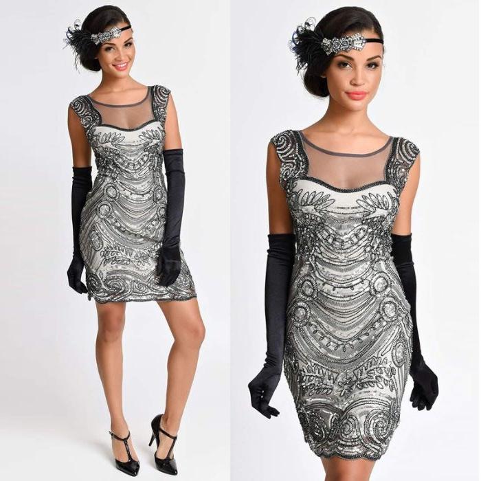 goldene zwanziger, mode ideen für frauen, silbernes kleid mit pailetten und perlen, haarschmuck, handschuhe