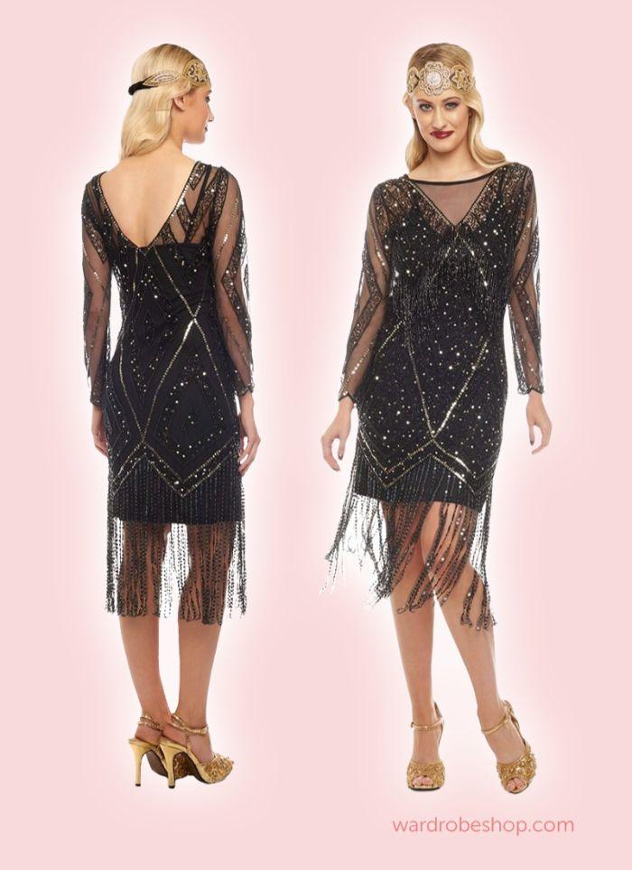goldene zwanziger, gatsby party style mode, schwarzes kleid mit fransen, lange blonde haare