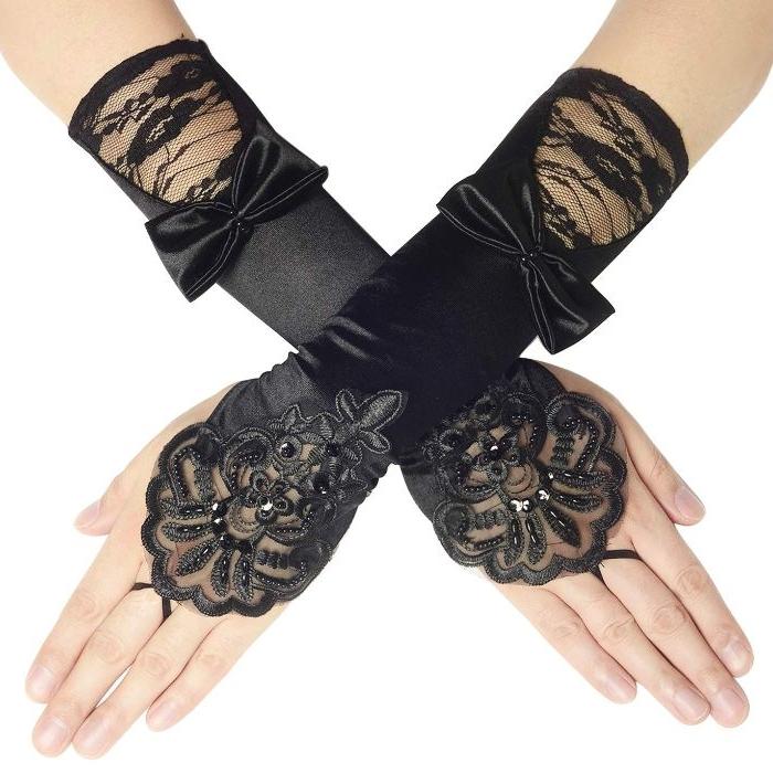 20er jahre, inspiration für accessoires und trends damals, schwarze handschuhe mit spitze und deko