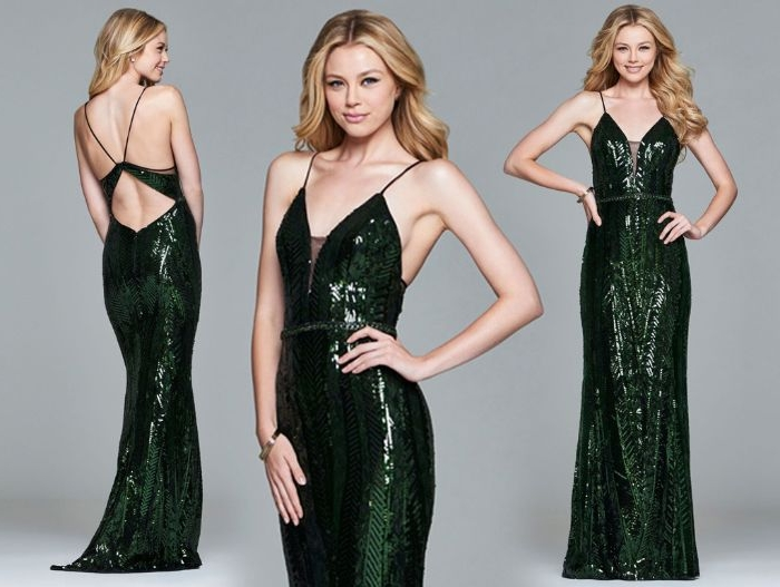 flapper kleid, langes grünes kleid mit pailletten, spitze decolette, lange blonde haare model