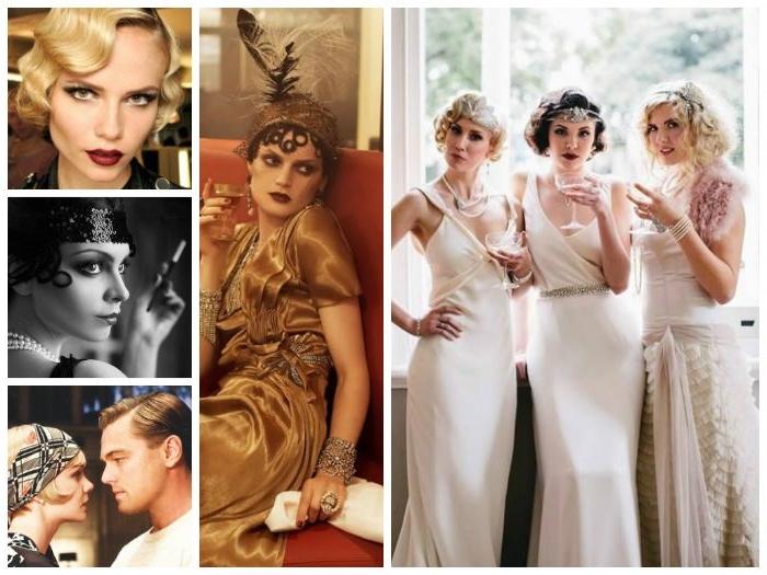 flapper kleid, mode für frauen 20er inspo, lange kleider, golden, weiß, haarschmuck, gatsby partystil