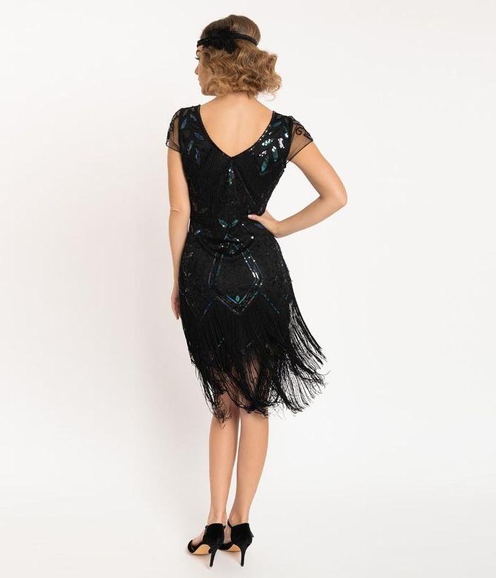 die goldenen zwanziger party kleid im stil gatsby, schwarzes knielanges kleid mit fransen ganz unten